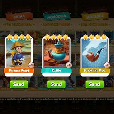Coin master cards.3 cards pack:farmer feng, kettle, smoking pipe.Fast delivery.