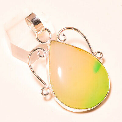 5.91 CARATS OVAL GREEN BOTSWANA AGATE BEAUTIFUL .925 STERLING SILVER PENDANT