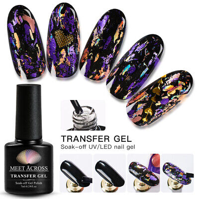 MEET ACROSS Nail Foil Adhesive Glue Starry Sky Sticker Transfer Glue Nail UV Gel