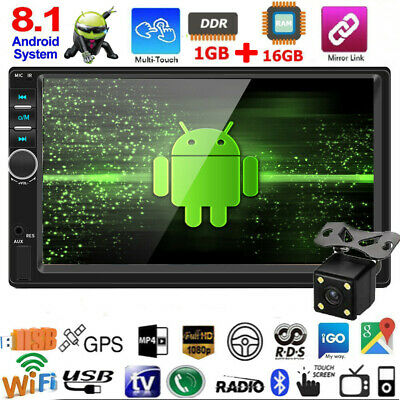 "7"" 2Din Android 8.1 Quad Core GPS Navi WiFi Car Stereo MP5 Player FM Radio BT"