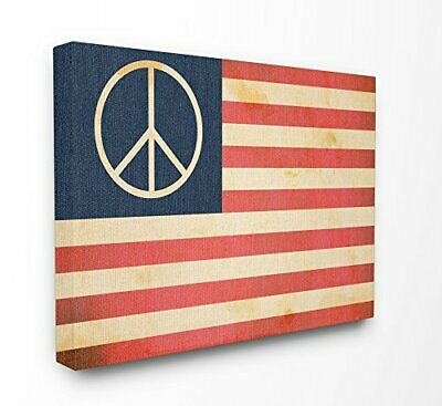 Stupell Industries Peace American Flag Oversized Stretched Canvas Wall (B2T)