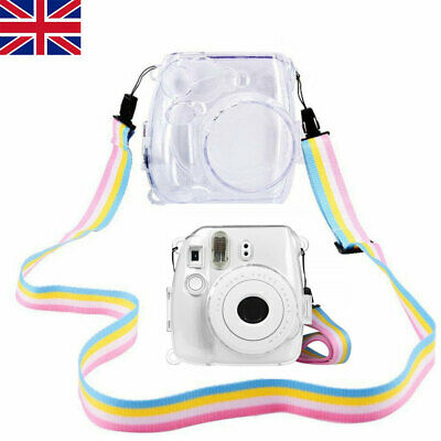 UK Clear Protective Camera Case with Strap Fit Fujifilm Polaroid Instax Mini 8/9