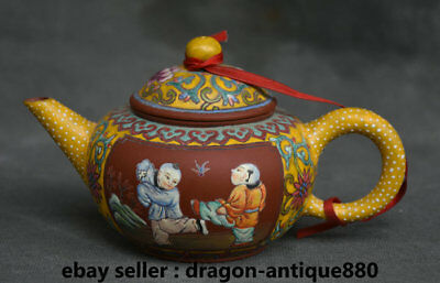 14CM Old Marked Chinese Colored Glaze Painted Child Handle Teapot Teakettle Pot