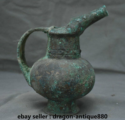 "8.4"" Old Chinese Bronze Ware Dynasty Palace Handle Drinking Vessel Wine Pot"