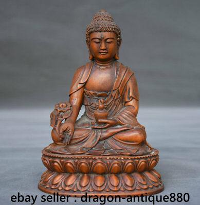 "6"" Old Chinese Boxwood Hand-carved Seat Menla Medicine Buddha Jar Sculpture"