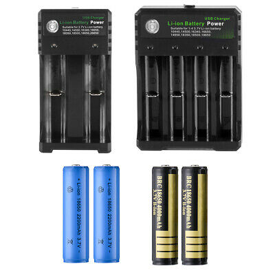 2x 18650 3.7V 2200/4000mAh Li-ion Rechargeable Battery Lithium Cells w/ Charger