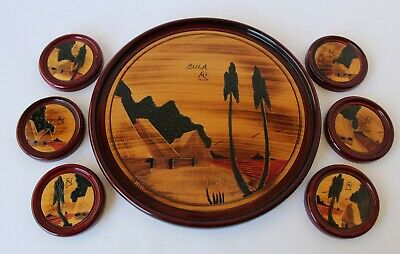 Vintage Retro SET OF FIJI SOUVENIR TRAY & COASTERS x6 Timber/Wood KITSCH