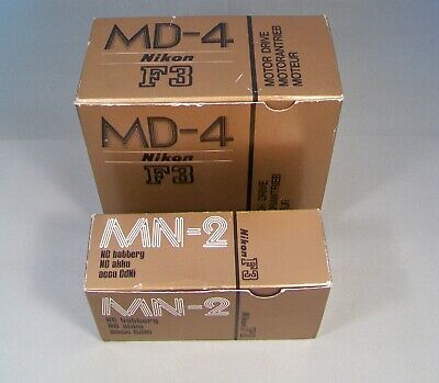 Nikon Md-4 Motor Drive & Mn-2 Ni-Cd Battery Unit (Untested) With Original Boxes