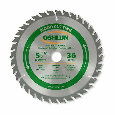 Oshlun SBW-055036 5-1/2-Inch 36 Tooth ATB Finishing and Trimming Saw Blade wi...