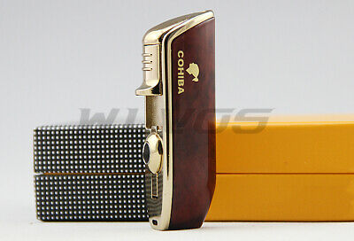 COHIBA Red Metal 3 TORCH JET FLAME CIGAR CIGARETTE LIGHTER With PUNCH Stylish