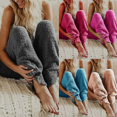 Women Long Fluffy Fleece Pyjama Bottoms Winter Loose Solid Trousers Warm Pants