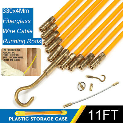 10pcs Fiberglass Cable Running Rods Kit Fish Tape Electrical Wire Coaxial 10.8FT