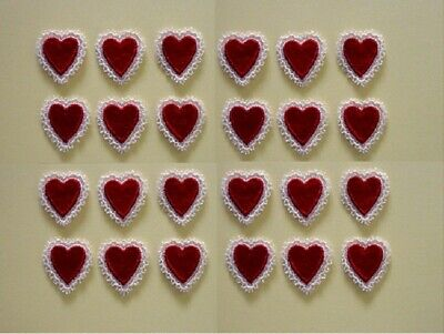 24 Red Embroidered Lace Heart Appliques (Bulk) - EB3