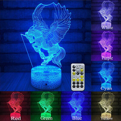 3D Unicorn Lamp Desk Night Light Remote Control Timer TOUCH CONTROL Kids Gift
