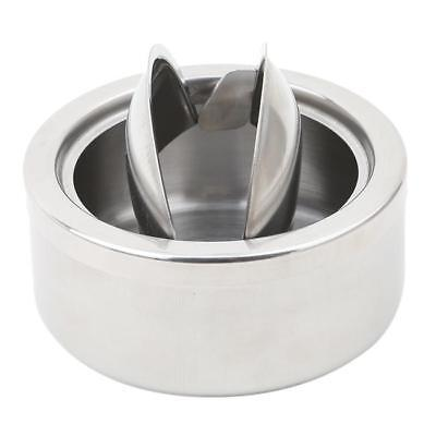 Round Stainless Steel Cigarette Lidded Ashtray Silver with Windproof Lid RF