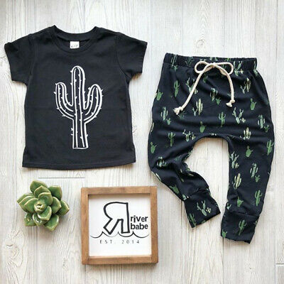 US Cute Toddler Kids Baby Boys Clothes Cactus Short Sleeve T-shirt+Pants Outfits