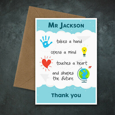 Personalised HAND Teacher Card End of Term, Head, Teaching Assistant, Nursery TA