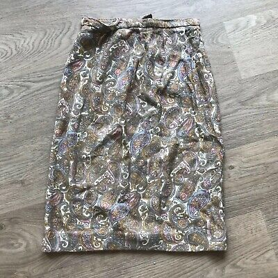 Vintage 70s Paisley Retro MCM Beige Brown Kitsch Boho Hippy Skirt Prop Film TV