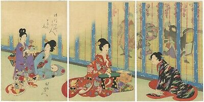 Original Japanese Woodblock Print, Noble Ladies, Kimono Pattern, Meiji, Ukiyo-e