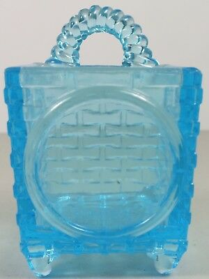 EAPG Early American Pattern Glass Antique Blue Standing or Hanging Match Holder