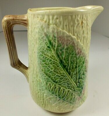 Lovely 19th Century Antique Majolica Milk Pitcher W/ Bark Ferns & Leaves Pattern