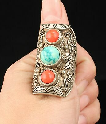 Chinese Tibetan Silver Inlaid Red Coral Handwork Carving Ring Jewelry