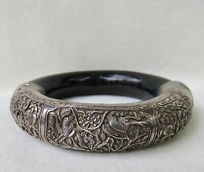 Antique Chinese Big Deeply Engraved Silver~Wood Bangle Bracelet~Hallmarked~As Is