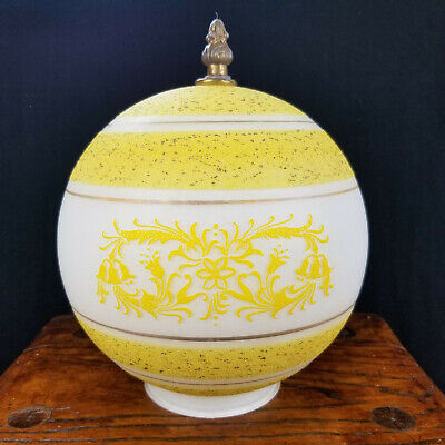 "Yellow & White Floral Frosted Round Globe Glass Fixture Shade 3 7/8"" Fitter"