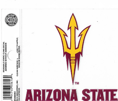 """arizona state sun devils 3.5"""" x 4"""" static cling decal adheres without adhesives"""
