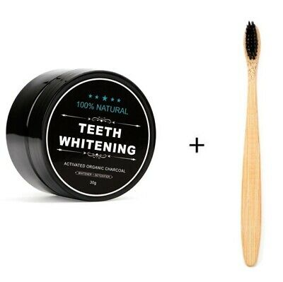 Teeth WhiteningCoconut Charcoal Powder Bamboo Teeth Whitening Kit with Toothbrus