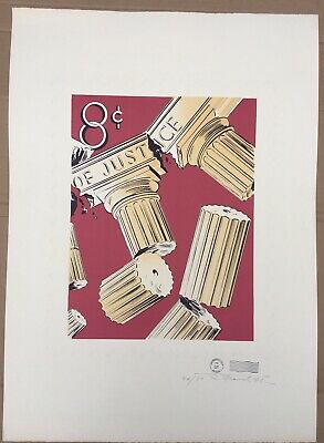 Robert Fried Signed Original Silkscreen Print Limited Edition 1971 Postage Stamp