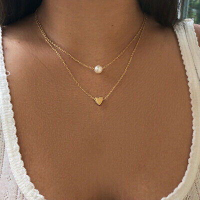 Heart Shape Double Layer Chain Necklace Women Jewelry Accessories S
