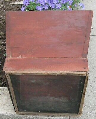 Old Wooden Canted Sides Lg Sifter In Red Off Antique Farm Equipment Multi Use