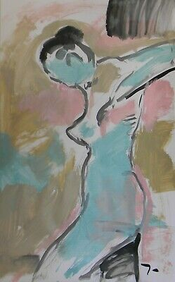 JOSE TRUJILLO Large Acrylic Painting ABSTRACT Nude Expressionist Woman Art 26x40