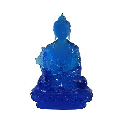Crystal Glass Liuli Pate-de-verre Blue Color Lotus Flower Buddha Statue cs5072