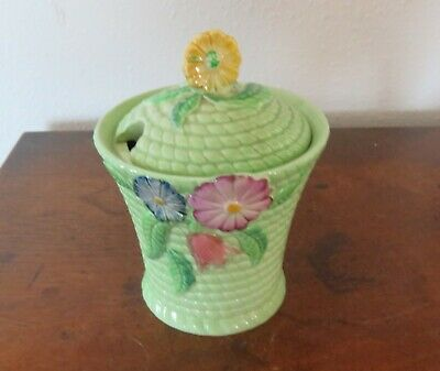Carlton Ware Jam or  Honey Jar Australian Design Basket w Flowers