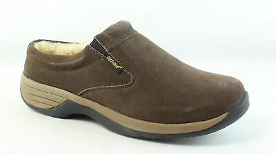 f728903b25a6b LL BEAN BROWN Leather Double Sole wool lined Slippers Size 12 NWOB ...