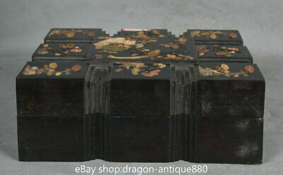 "10"" Old Chinese Redwood inlay Shell Plum Blossom Flower Bird storage Jewelry box"