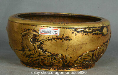 """6"""" Xuande Marked Chinese Palace Copper Gold Old Man Bamboo incense burner Censer"""
