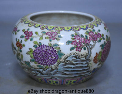 """6.4"""" Marked Old Chinese Wucai Porcelain Dynasty Palace Flower Small Tank Jar"""