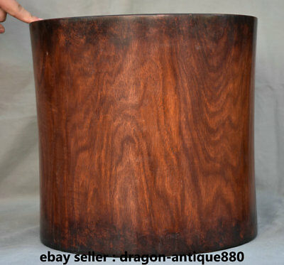 """13.2"""" Old Chinese Huanghuali Wood Dynasty Palace Office Brush Pot Pencil Vase"""