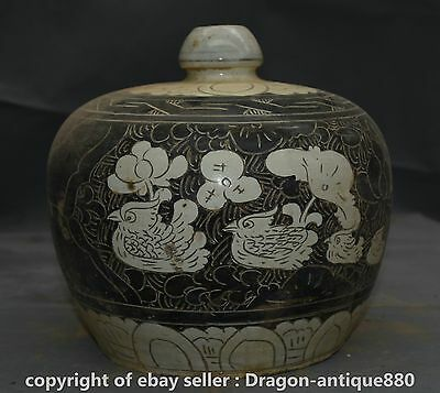 "10"" Old Chinese Cizhou kiln Porcelain Mandarin Duck lotus Flower Bottle Vase"