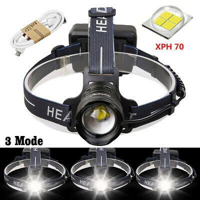 Super Bright XHP70 LED 990000LMS Headlamp Headlight Zoom USB Rechargeable 18650