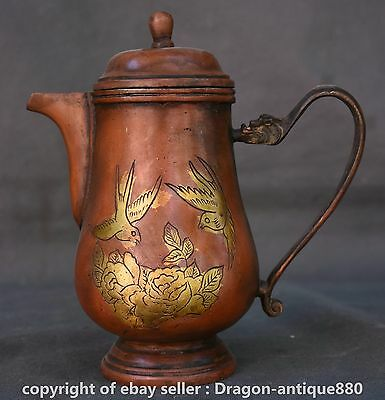 """8"""" Marked Old Chinese Red Bronze Dynasty Flower Birds Handle Wine Tea Pot Flagon"""