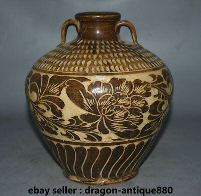 "10"" Rare Old Chinese Cizhou Kiln Porcelain Dynasty Palace Flower Tank Jug Jar"