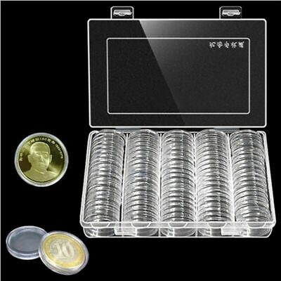 100Pcs 27mm Cases Capsules Container Holder Storage Box Coin Case Holder