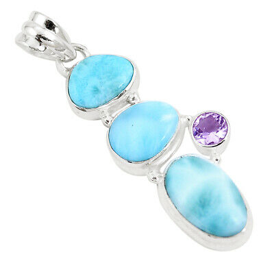 17.93cts Natural Blue Larimar Amethyst 925 Sterling Silver Pendant Jewelry P9392