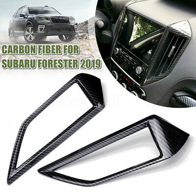 2PCS Carbon Fiber Middle Air Vent Outlet Cover Trim for Subaru Forester 2019
