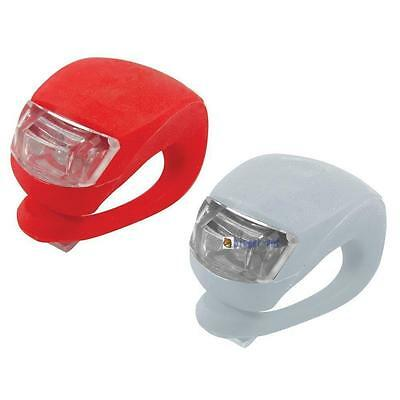 2X Led Silicone Mountain Bike Bicycle Front Rear Lights Push Cycle Light Clip GL