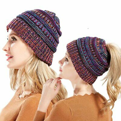Women Ponytail Beanie Skull Cap Winter Soft Stretch Cable Knit High Bun Hat KS